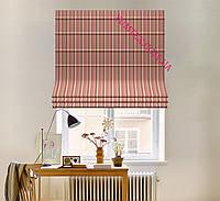 Римская штора ткань хлопок тефлон полоска бордово-розового цвета 040706v69с доставкой