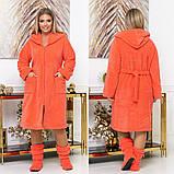 Довгий жіночий пухнастий халат з капюшоном на блискавці 4 расцв., фото 4