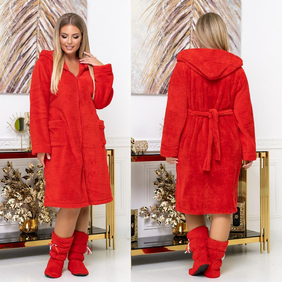 Довгий жіночий пухнастий халат з капюшоном на блискавці 4 расцв.