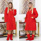 Довгий жіночий пухнастий халат з капюшоном на блискавці 4 расцв., фото 2