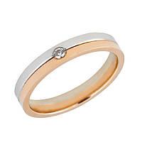 Золотое комбинированное обручальное кольцо 585 пробы
