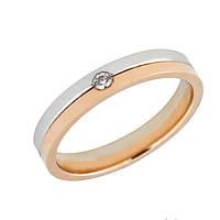Золотое комбинированное обручальное кольцо с бриллиантом