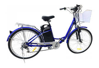 """Новый электровелосипед дорожный 26"""" колесо с багажником на стальной раме / електро велосипед с корзиной"""