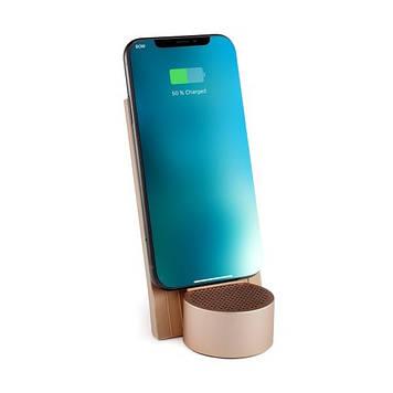 Беспроводное зарядное устройство с динамиком на 3 Вт, золотой