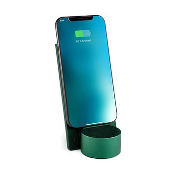 Беспроводное зарядное устройство с динамиком на 3 Вт, зеленый