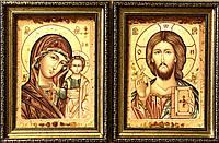 Иконы пара венчальная Казанская  из янтаря , 20x30 см