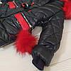 """Зимова куртка для дівчинки """"Милашка"""" синя, натуральні хутра, фото 3"""