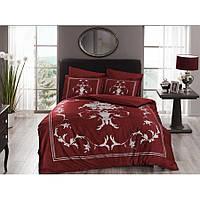 Комплект постельного белья Pierre Cardin - Kalista красный сатин евро