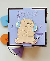 Бізікуб бізіборд ведмедик Intellect Wood з музичним механізмом і світлом 15*15 (b00002)