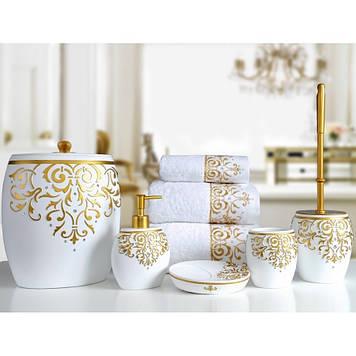 Комплект в ванную Irya - Flossy beyaz (5 предметов)
