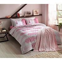 Набор постельного белья TAC ранфорс + плед вязанный Triko - Despina pembe v2 розовый евро