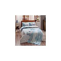 Набор постельного белья TAC ранфорс + плед вязанный Triko - Armina mavi v4 голубой евро