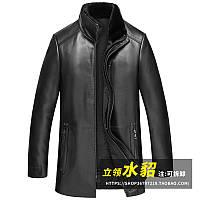 Шкіряний чоловічий пуховик з овчини Haining, шкіряна куртка з коміром-стійкою, вітрівка середньої довжини, зимова куртка утеплена
