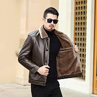 Тато носить чоловічу шкіряну куртку 2020 нова хутряна чоловіча куртка для середнього та похилого віку, шкіряна куртка чоловіча зимова плюс оксамитова
