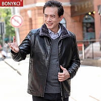 Куртка тато осінь і зима чоловіча шкіряна одяг середнього віку, середнього та похилого віку 40 років 50 плюс оксамитова товста шкіряна куртка