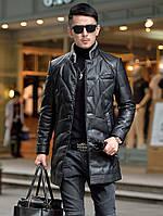 Зимова нова шкіряна куртка Haining, чоловіча пухова куртка середньої довжини з овечої шкіри, куртка з коміром-стійкою, тепла куртка хутряна