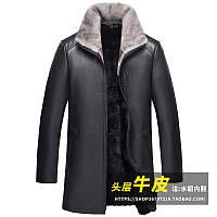 Шкіряна куртка Haining, чоловіче пальто середньої довжини з лацканами, куртка з волової шкіри, норкова шуба з одного норковій підкладкою