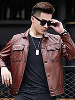 Шкіряна куртка Haining мотоциклетна шкіряна шкіряна куртка чоловіча з лацканами з короткою овечої шкіри тонкий корейська стиль красива повсякденна