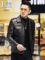 Осіння шкіряна чоловіча шкіряна куртка Haining, мотоциклетна куртка першого шару з телячої шкіри, шкіряна куртка, корейська стиль, тонке пальто