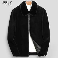 Нова чоловіча коротка шкіряна куртка з овечої стрижки і хутра з коміром з норки, чоловіча шуба з відворотом, товсте пальто