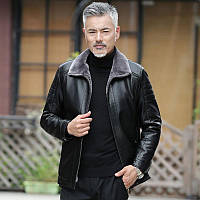 Зимова куртка для папи плюс потовщення оксамиту 2020 нова шкіряна куртка середнього віку Чоловіча хутряна куртка середнього і літнього віку