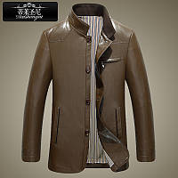 Haining гарна шкіряна чоловіча шкіряна куртка чоловіча корейська тонка шкіряна куртка з коміром-стійкою ділова куртка повсякденна середнього