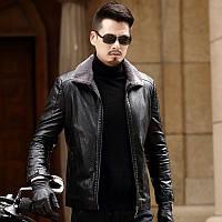 Новинка 2020, зимова мотоциклетна шкіряна куртка з лацканами, повсякденне пальто з хутром, одне пальто, шерсть ягняти, плюс оксамитова шкіряна куртка