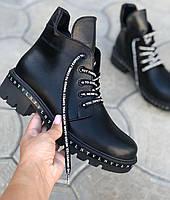 Модные ботинки женские кожаные на низком каблуке осень весна красивые молодежные 37 размер M.KraFVT 311