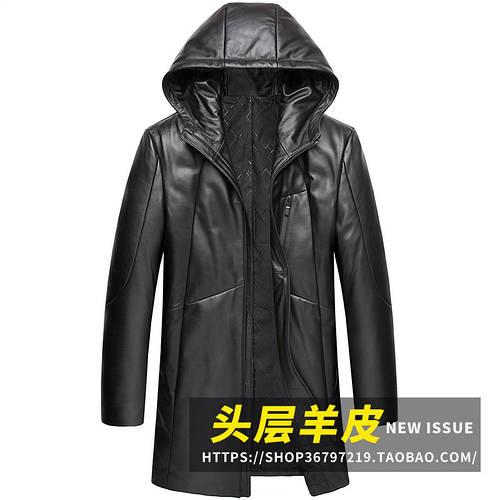 Кожаный мужской пуховик средней длины Haining, кожаная куртка из овечьей кожи, Корейская ветровка с капюшоном, утолщенная и бархатная