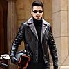 Зимова шкіряна одяг Haining, нова шуба з хутром, чоловіча потовщена і оксамитова шкіряна куртка, костюм, шкіряна куртка з коміром, шкіряна куртка