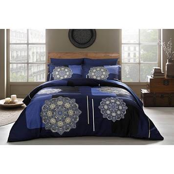 Набор постельного белья TAC сатин Delux - Milla V1 lacivert синий евро