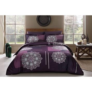 Набор постельного белья TAC сатин Delux - Milla V5 murdum фиолетовый евро