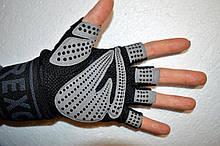 Перчатки для тренажерного зала велосипеда с напульсниками Rexchi безпалые черные