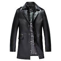 Весна, осень и зима Кожаный мужской кожаный костюм Haining, деловая кожаная ветровка, мужская кожаная куртка средней длины, кожаная куртка, куртка, фото 1