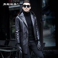 Пуховик Haining, мужская ветровка из воловьей кожи, кожаная куртка первого слоя, мужская куртка средней длины с капюшоном, зимняя куртка большого, фото 1