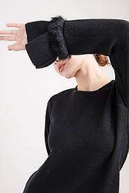Теплое трикотажное платье до колена свободного силуэта в черно, сером и джинсовом цветах в размере S/M и  L/XL