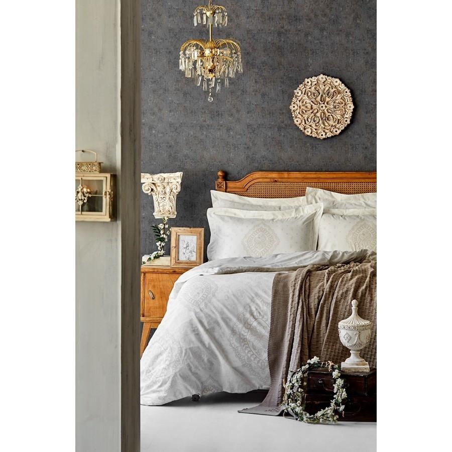 Набор  постельного белья  с пледом Karaca Home - Desire bej 2020-1 бежевый евро