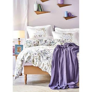 Набор  постельного белья  с пледом Karaca Home - Elsira lila 2020-1 лиловый евро