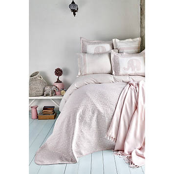 Набор постельное белье с покрывалом + плед Karaca Home - Zilonis pudra 2019-2 пудра евро