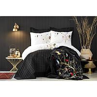 Набор постельное белье с покрывалом + плед Karaca Home - Grace siyah 2019-2 черный евро (10)