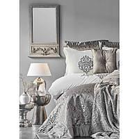 Набор постельное белье с покрывалом + плед Karaca Home - Camilla antrasit 2020-2 серый евро(13)