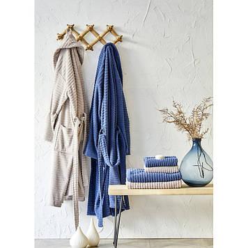 Набор халат с полотенцем Karaca Home - Infinity vizon-lacivert 2020-1 синий-кофейный