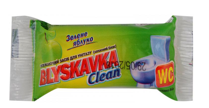 Сменный блок для унитаза Blyskavka 30г зеленое яблоко запаска