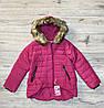 Теплая дутая куртка на синтепоне со съемным мехом на капюшоне (Внутри-мех). 4- 12 лет.