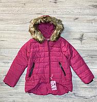 Тепла дута куртка на синтепоні зі знімним хутром на капюшоні (Всередині-хутро). 4 - 12 років.