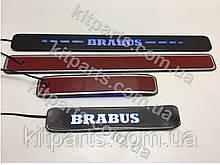 BRABUS AMG Карбоновые накладки на пороги с подсветкой LED W463A W464 G500 G63 AMG G400 G class Mercedes 2018+