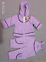 Демисезонный сиреневый  костюм (курточка+комбез) для девочки до 1 года на байке синтепон, фото 1