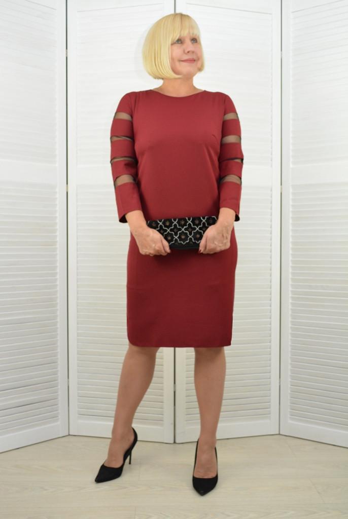 Платье бордовое рукава в сетка - Модель 3.204