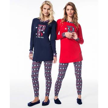 Домашняя одежда U.S. Polo Assn - Пижама женская (длин.рукав) 15521 красная, XL