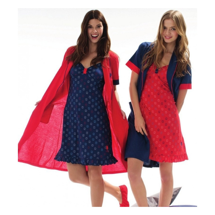 Домашня одяг U. S. Polo Assn - Халат + сарафан 15129 червоний, S